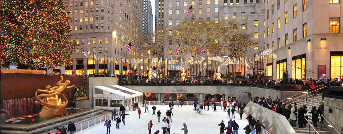 A photo of people ice skating at the Rockefeller Rink