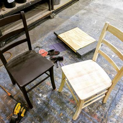 Sanding chairs for the National Players' The Diary of Anne Frank