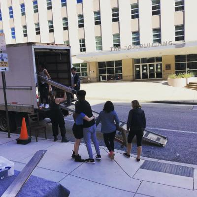 Unloading the truck at Baltimore Center Stage