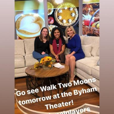 Miranda Pepin and Emma on a news station talking about Walk Two Moons