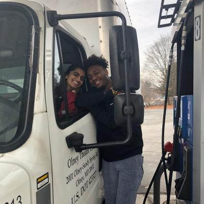 CJ and Saira filling up the truck