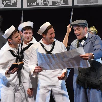 Evan Casey (Chip), Sam Ludwig (Ozzie), Rhett Guter (Gabey), and Bobby Smith (Bill Poster) in ON THE TOWN, now playing at Olney Theatre Center. (Photo: Stan Barouh)