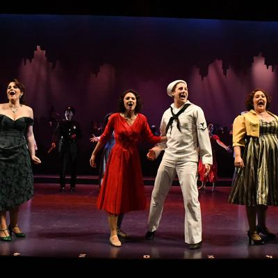 Sam Ludwig (Ozzie), Rachel Zampelli (Claire De Loone), Claire Rathbun (Ivy), Rhett Guter (Gabey), Tracy Lynn Olivera (Hildy Esterhazy), and Evan Casey (Chip) in ON THE TOWN at Olney Theatre Center. (Photo: Stan Barouh)
