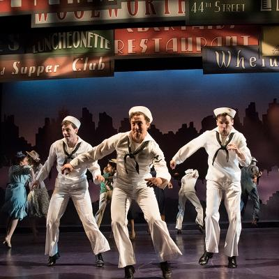 Sam Ludwig (Ozzie), Rhett Guter (Gabey), and Evan Casey (Chip) in ON THE TOWN, now playing at Olney Theatre Center. (Photo: Stan Barouh)