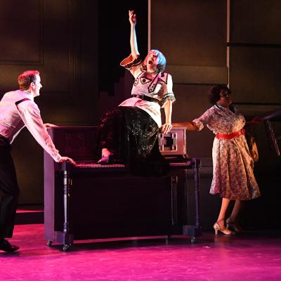 Lance E. Hayes (Ensemble), Donna Migliaccio (Madame Maude P. Dilly), and Taylor J. Washington (Ensemble) in Olney Theatre Center's production of ON THE TOWN. (Photo: Stan Barouh)