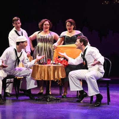 Rhett Guter (Gabey), Evan Casey (Chip), Tracy Lynn Olivera (Hildy Esterhazy), Rachel Zampelli (Claire De Loone), and Sam Ludwig (Ozzie) in ON THE TOWN at Olney Theatre Center. (Photo: Stan Barouh)