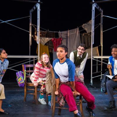 National Players' Saira Grewal, Emma Stern, Miranda Pepin, Matt Merline, and Cedrick L. Riggs, Jr. in WALK TWO MOONS. Photo: C. Stanley Photography