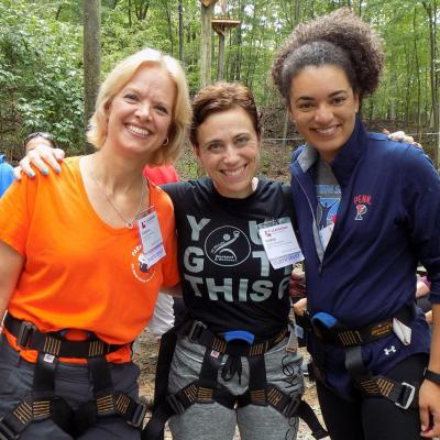 Debbie and her fellow Leadership Montgomery classmates at the Fall retreat ropes course