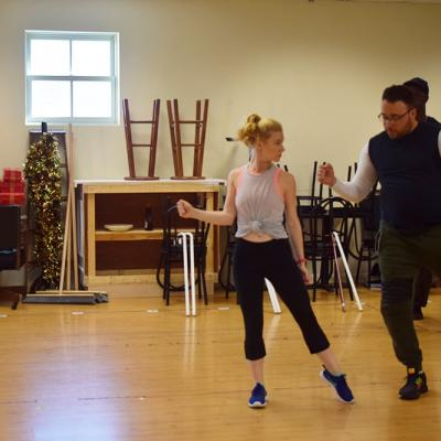 Taylor Elise Rector (Dance Captain and Ensemble Member) and Calvin McCullough (Manager, formerly Ensemble in South Pacific) working on some choreography!