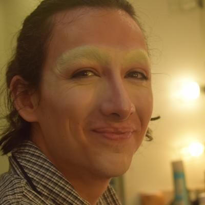 Next Step: Apply powder to both eyebrows and blend the rest of the foundation