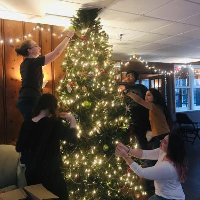 The Apprentices decorating the tree