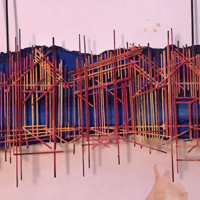 A photo of a model of the set design