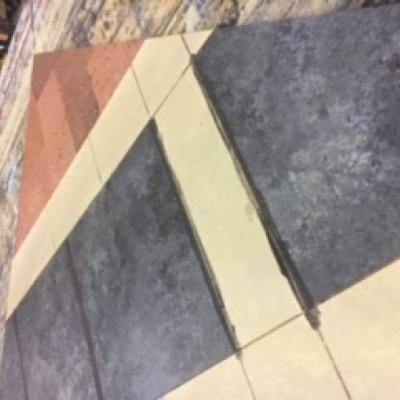 A photo of the floor on the ONCE set being painted