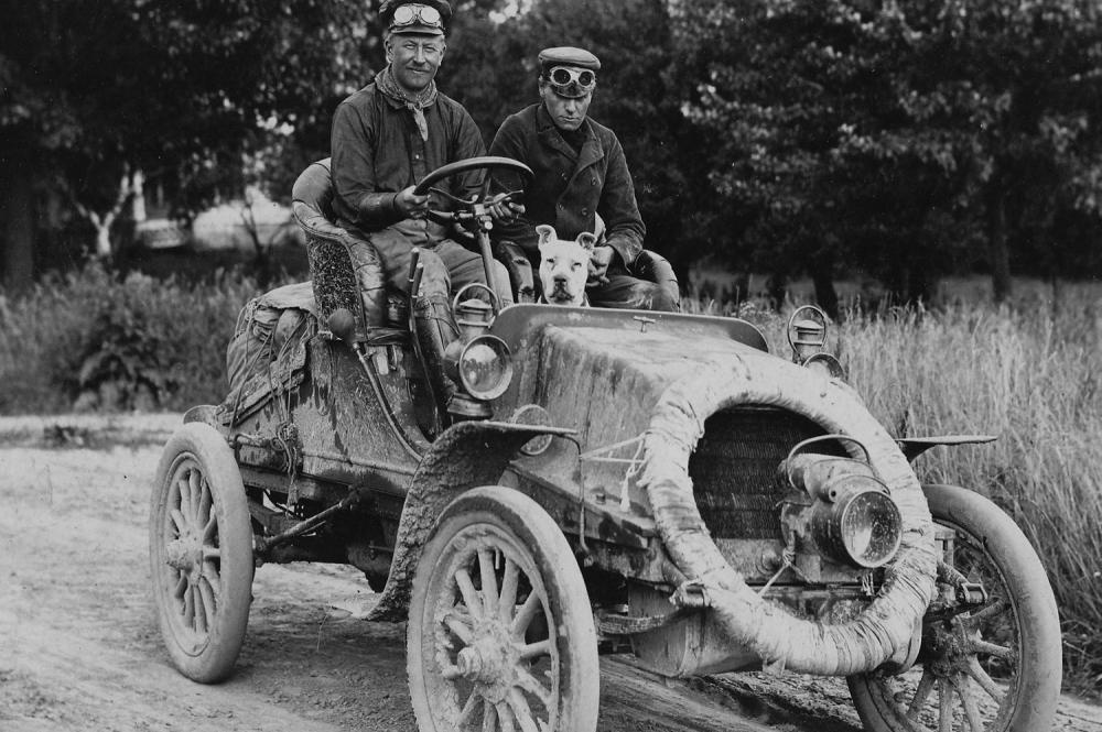 Horatio Jackson and Sewall Crocker with their traveling companion, a pitbull named Bud
