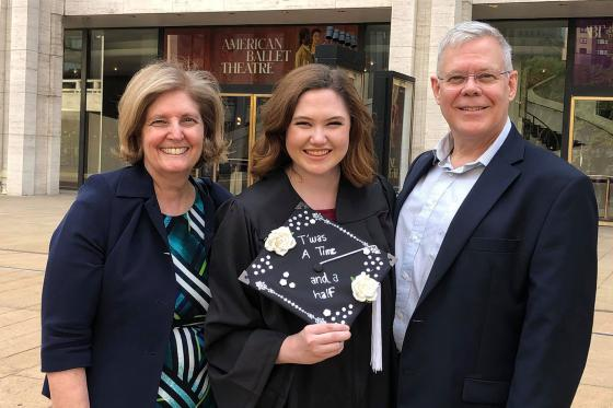 Meredith and her parents, Lorie and Chris, at graduation