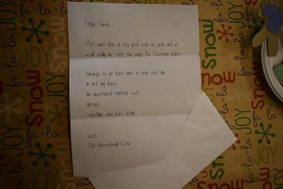 The crew letter to Santa