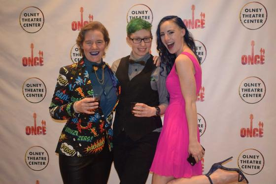A photo of Kaitlyn Sapp, Theo Adelberg, and Lacey Jo Sloat at ONCE Opening Night